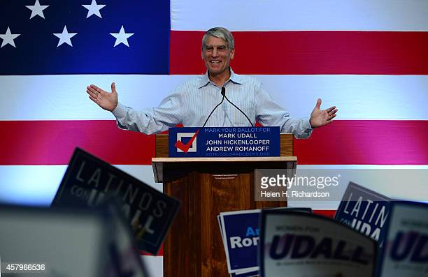 Senator Mark Udall addresses a packed audience during a get-out-the-vote rally for himself, Colorado Governor John Hickenlooper and Andrew Romanoff,...