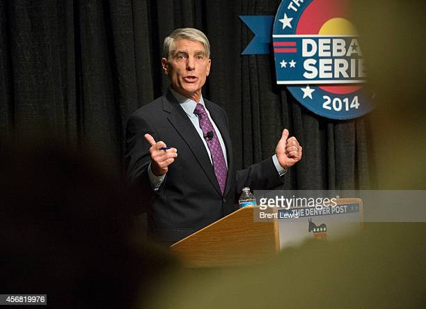 October 7: U.S. Senator Mark Udall points out his differences between challenger Representative Cory Gardner during a debate Tuesday, October 7, 2014...