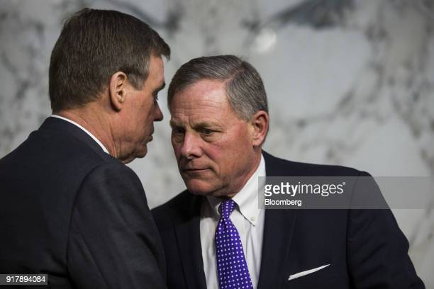 Senator Mark Warner a Democrat from Virginia and ranking member of the Senate Intelligence Committee left and chairman Senator Richard Burr a...