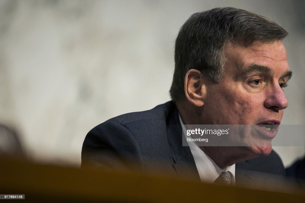 Senator Mark Warner, a Democrat from Virginia and ranking member of the Senate Intelligence Committee, speaks during a hearing on worldwide threats in Washington, D.C., U.S., on Feb. 13, 2018. From missiles to cyberattacks, the annual intelligence assessment of global threats paints a world where China and Russia seek to upend U.S. influence as allies uncertain of American commitment may turn away from Washington. Photographer: Zach Gibson/Bloomberg via Getty Images