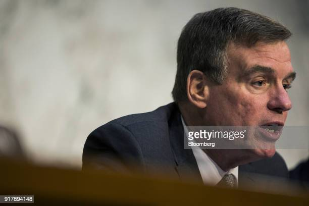 Senator Mark Warner a Democrat from Virginia and ranking member of the Senate Intelligence Committee speaks during a hearing on worldwide threats in...