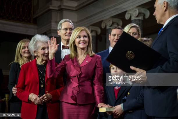 Senator Marsha Blackburn participates in a mock swearing in ceremony with Vice President Mike Pence on Capitol Hill on January 3 2019 in Washington DC