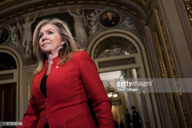 Senator Marsha Blackburn walks in the U.S. Capitol during a break on the second day that Senators have the opportunity to ask questions during...