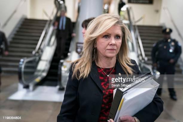 Senator Marsha Blackburn walks to the Senate subway in the U.S. Capitol on February 3, 2020 in Washington, United States. Closing arguments began...