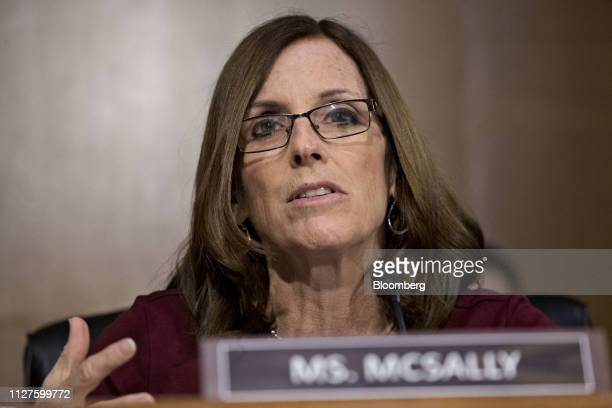 Senator Martha McSally a Republican from Arizona questions Jerome Powell chairman of the US Federal Reserve not pictured during a Senate Banking...