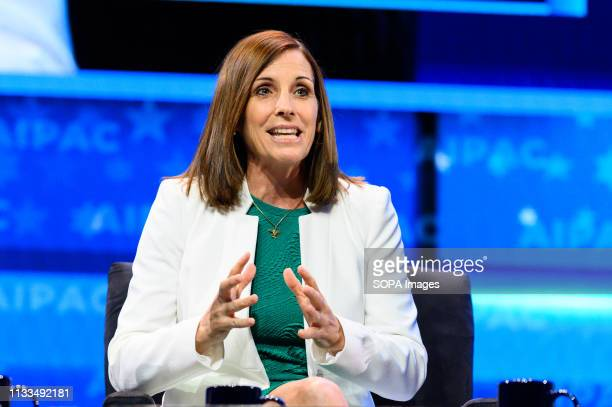 S Senator Martha McSally seen speaking during the American Israel Public Affairs Committee Policy Conference in Washington DC