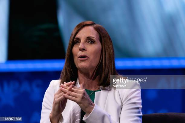 Senator Martha McSally speaks at the 2019 American Israel Public Affairs Committee Policy Conference at the Walter E Washington Convention Center in...