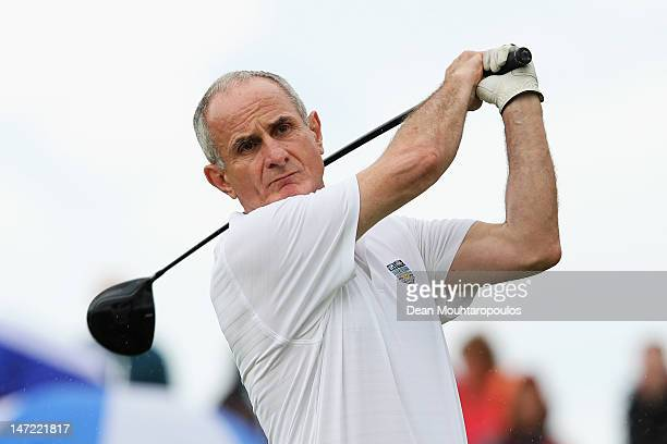 Senator, Martin McAleese hits his tee shot on the 1st hole during the Pro Am for the 2012 Irish Open held on the Dunluce Links at Royal Portrush Golf...
