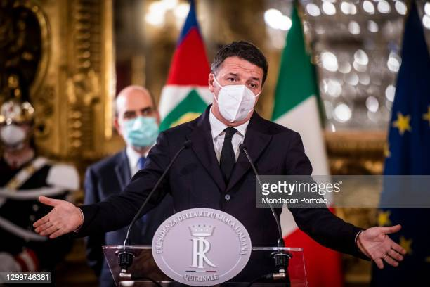 Senator Matteo Renzi of Italia Viva party at Senate, at Quirinale for the consultation with the President of the Republic for the formation of the...