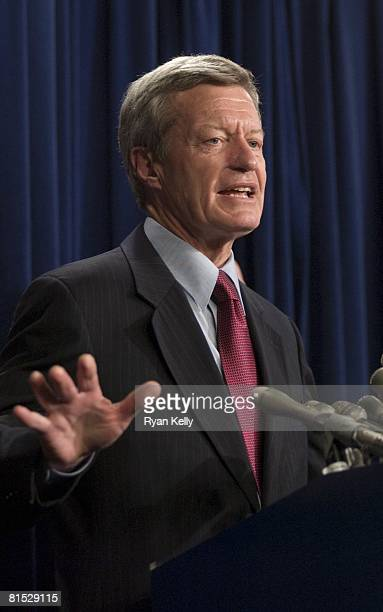 Senator Max Baucus , Chairman of the Senate Finance Committee, addresses the press after Senate Republicans blocked the Democrats efforts to further...