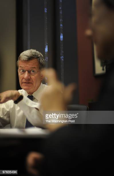 Senator Max Baucus meets with staff concerning healthcare on Capitol Hill on Thursday May 21 2009 in Washington DC