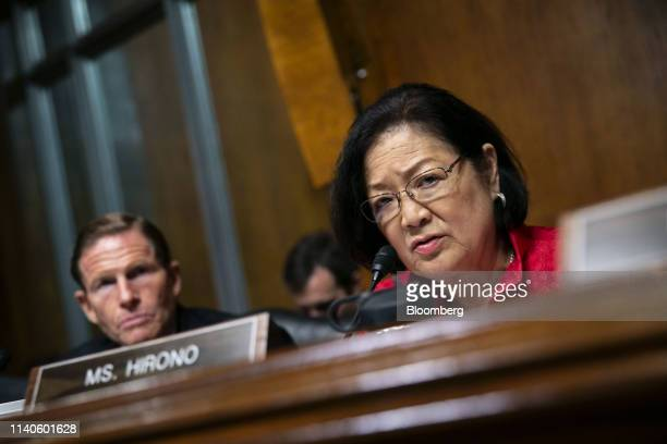 Senator Mazie Hirono a Democrat from Hawaii listens as William Barr US attorney general not pictured speaks during a Senate Judiciary Committee...