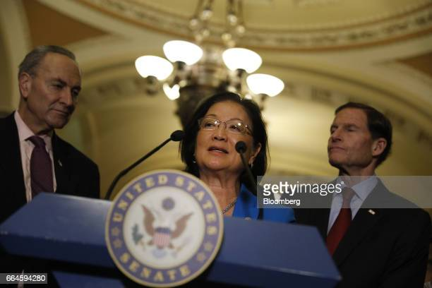 Senator Mazie Hirono a Democrat from Hawaii speaks during a news conference after a Senate Democratic luncheon at the US Capitol in Washington DC US...