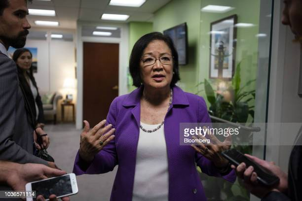 Senator Mazie Hirono a Democrat from Hawaii speaks with reporters on Capitol Hill in Washington DC US on Thursday Sept 20 2018 Senate Judiciary...