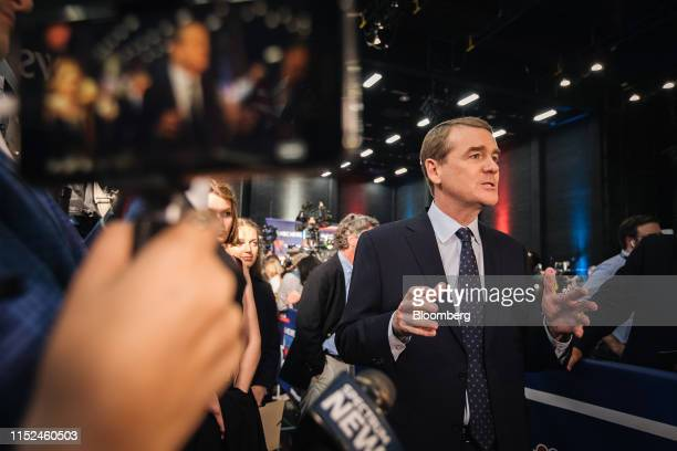 Senator Michael Bennet a Democrat from Colorado and 2020 presidential candidate speaks to the media following the Democratic presidential candidate...