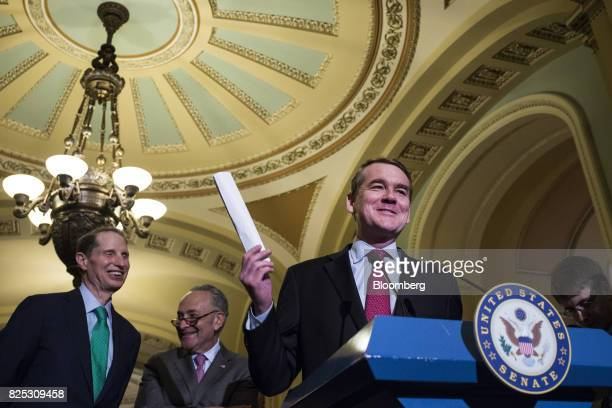 Senator Michael Bennet a Democrat from Colorado speaks during a news conference after a weekly Democratic luncheon meeting at the US Capitol in...