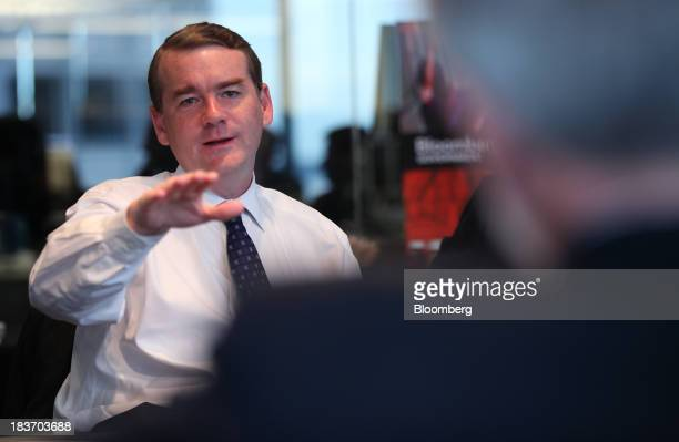 Senator Michael Bennet a Democrat from Colorado speaks during an interview in Washington DC US on Wednesday Oct 9 2013 Bennet says Congress should...
