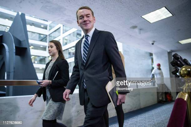 Senator Michael Bennet a Democrat from Colorado speaks to reporters before a Senate Intelligence Committee with Michael Cohen former personal lawyer...