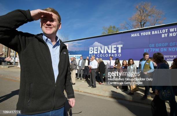 US senator Michael Bennet waits to have a group photo taken Friday morning at the Red Zone 540 Main St Bennet was in Longmont to kick off his Get Out...