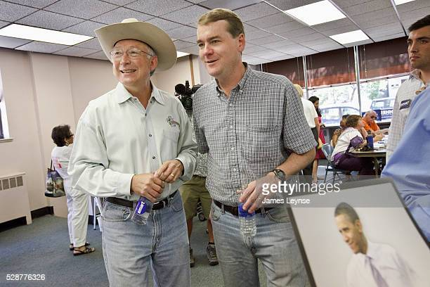 Senator Michael Bennet with Secretary of the Interior Ken Salazar at a Denver rally in support of Bennet for US Senate Bennet is a Democratic senator...