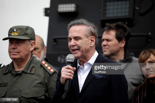 Senator Miguel Angel Pichetto gives a press conference of raiddrugsPatricia BullrichMiguel Angel Pichetto three antidrug raids in the neighborhood of...