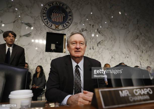 Senator Mike Crapo a Republican from Idaho arrives to a Senate Banking Committee confirmation hearing with Jerome Powell chairman of the US Federal...