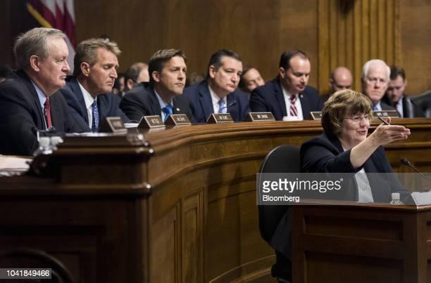 Senator Mike Crapo a Republican from Idaho from left Senator Jeff Flake a Republican from Arizona Senator Ben Sasse a Republican from Nebraska...
