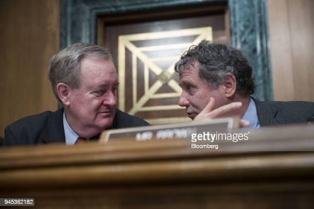 Senator Mike Crapo a Republican from Idaho left and Senator Sherrod Brown a Democrat from Ohio during a Senate Banking Housing Urban Affairs...