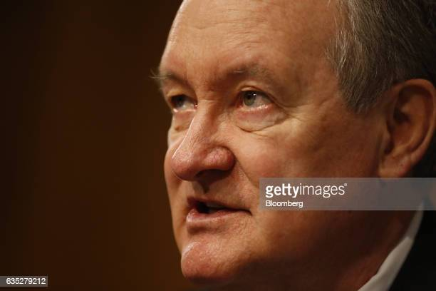 Senator Mike Crapo a Republican from Idaho speaks before Janet Yellen chair of the US Federal Reserve not pictured testifies during a Senate Banking...