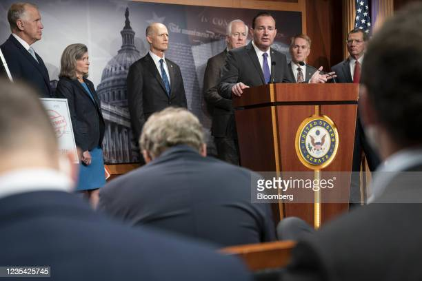 Senator Mike Lee, a Republican from Utah, speaks during a news conference on raising the debt ceiling at the U.S. Capitol in Washington, D.C., U.S.,...