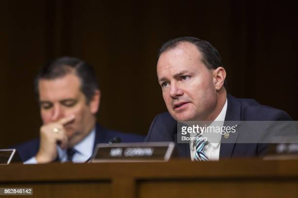 Senator Mike Lee a Republican from Utah speaks during a Senate Judiciary Committee hearing with Jeff Sessions US attorney general not pictured in...