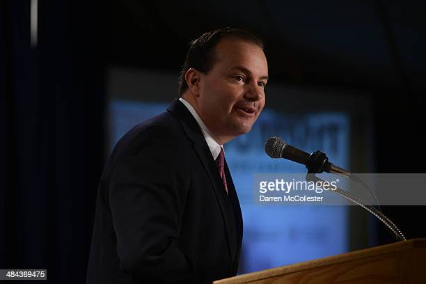 S Senator Mike Lee speaks at the Freedom Summit at The Executive Court Banquet Facility April 12 2014 in Manchester New Hampshire The Freedom Summit...