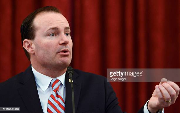Senator Mike Lee speaks during #JusticReformNow Capitol Hill Advocacy Day at Russell Senate Office Building on April 28 2016 in Washington DC