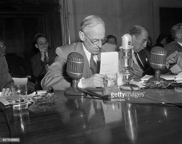 Senator Millard Tydings of Maryland Chairman of a Senate Foreign Relations Subcommittee probing charges of red infiltration in the State Department...