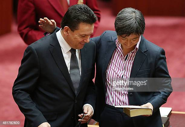 Senator Nick Xenophon and Senator Penny Wong during the official swearing in ceremony on July 7 2014 in Canberra Australia Twelve Senators will be...