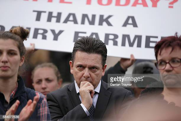 Senator Nick Xenophon shows his support on the steps of Parliament House on May 25 2016 in Melbourne Australia The Federal Government is expected to...