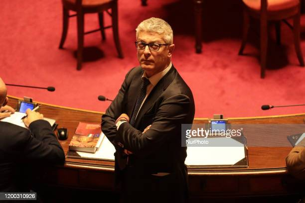 Senator Nicola Morra in the Senate Chamber in the Senate Chamber in Rome Italy on February 12 2020