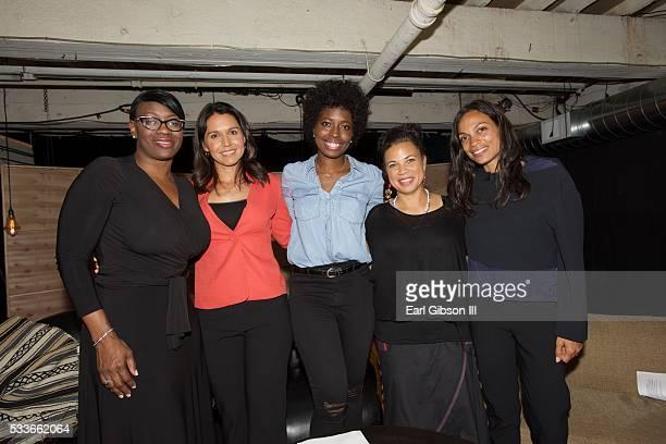 Senator Nina Turner Congresswoman Tulsi Gabbard host Erica Williams Simon Black Lives Matter organizer Dr Melina Abdullah and actress Rosario Dawson...