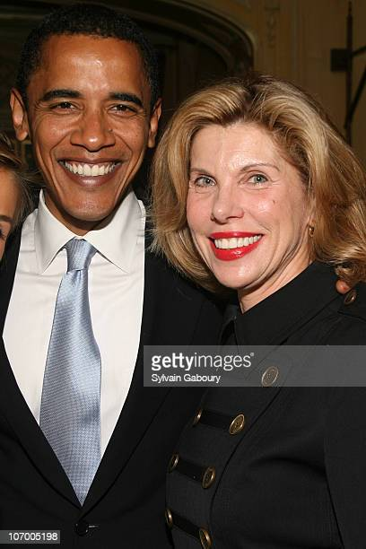 Senator Obama and Christine Baranski during Harvey Weinstein Hosts a Private Dinner and Screening of 'Bobby' for Senators Obama and Schumer at Plaza...