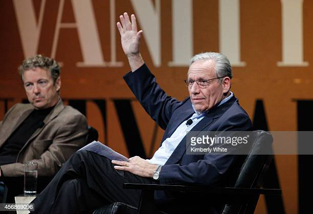 S Senator of Kentucky Rand Paul and The New York Post Associate Editor and Moderator Bob Woodward speak onstage during Why Can't Tech Save Politics...