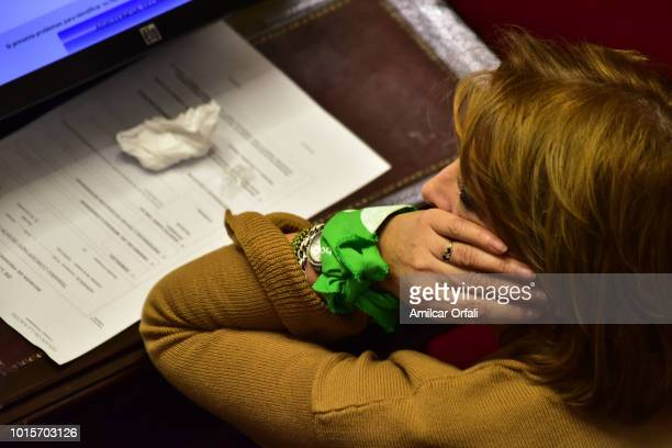 Senator of La Pampa Norma Haydee Durango wears the green handkerchief on her wrist at National Congress while senators vote for the new abortion law...
