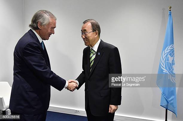 Senator of Massachusetts Ed Markey and UN SecretaryGeneral Ban Kimoon greet each other prior a Press Conference held by a delegation of Democratic US...