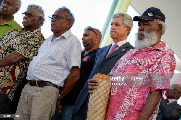 Senator of New Caledonia Pierre Frogier attends the inauguration of a high school by the French Prime Minister in MontDore on December 5 2017 / AFP...