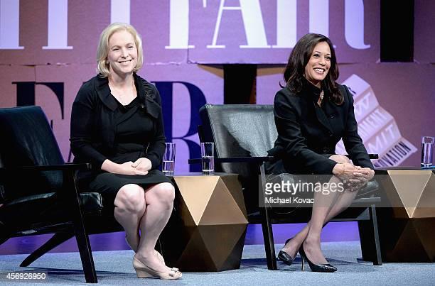 "Senator of New York Kirsten Gillibrand and Attorney General of California Kamala D. Harris speak onstage during ""Disrupting Politics"" at the Vanity..."