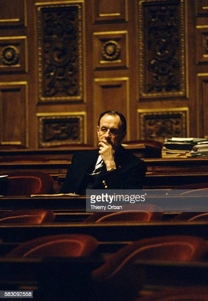 Senator of Paris Philippe de Gaulle sits surrounded by empty seats in the French Senate building De Gaulle was present to hear Minister of Justice...