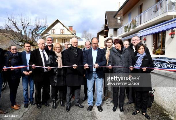 Senator of Savoie JeanPierre Vial President of the French Telecoms Federation Regis Turrini and mayor of La Thuile Dominique Pommat and MP Bernadette...