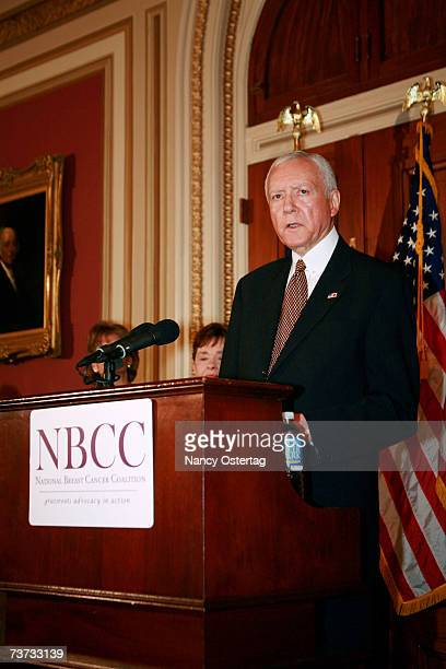 Senator Orin Hatch speaks at the National Breast Cancer Coalition press conference at The Capitol on March 28 2007 in Washington DC