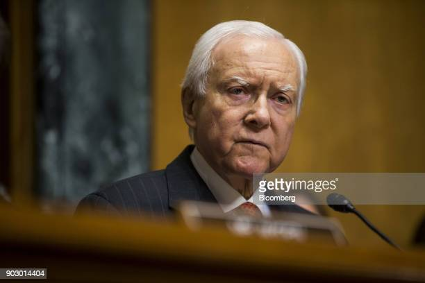 Senator Orrin Hatch a Republican from Utah and chairman of the Senate Finance Committee speaks during a confirmation hearing for Alex Azar secretary...