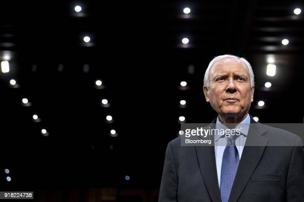 Senator Orrin Hatch a Republican from Utah and chairman of the Senate Finance Committee arrives to introduce witnesses during a Senate Commerce...