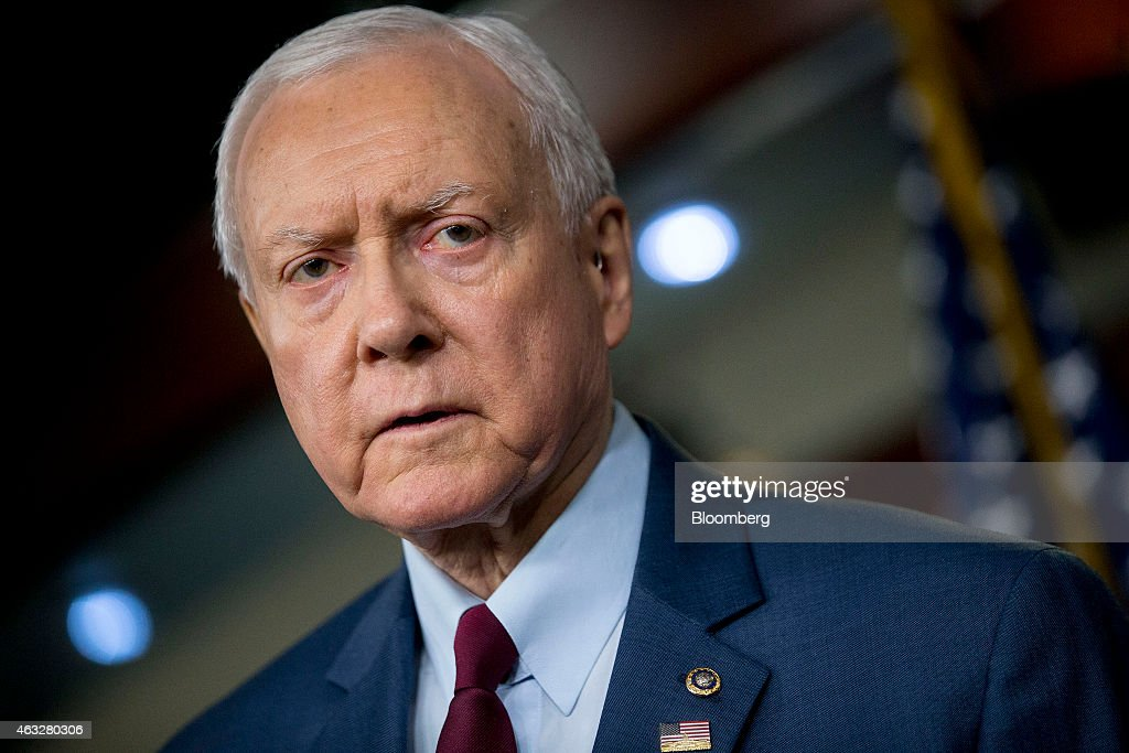 Senator Orrin Hatch, a Republican from Utah, speaks during a news conference on the Department of Homeland Security (DHS) funding bill in Washington, D.C., U.S., on Thursday, Feb. 12, 2015. The DHS is operating under a continuing resolution that expires on Feb 27 with a stalemate over whether the must-pass measure should carry riders to upend President Barack Obama's immigration policies continuing to threaten passage of the legislation. Photographer: Andrew Harrer/Bloomberg via Getty Images
